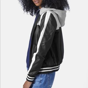 Topshop Faux Leather Hooded Bomber